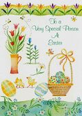 Easter Card-Basket, Eggs And Flowers